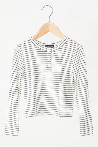 MILA STRIPE TOP in colour CLOUD DANCER