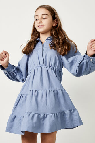 MINI SHIRT DRESS in colour CERULEAN