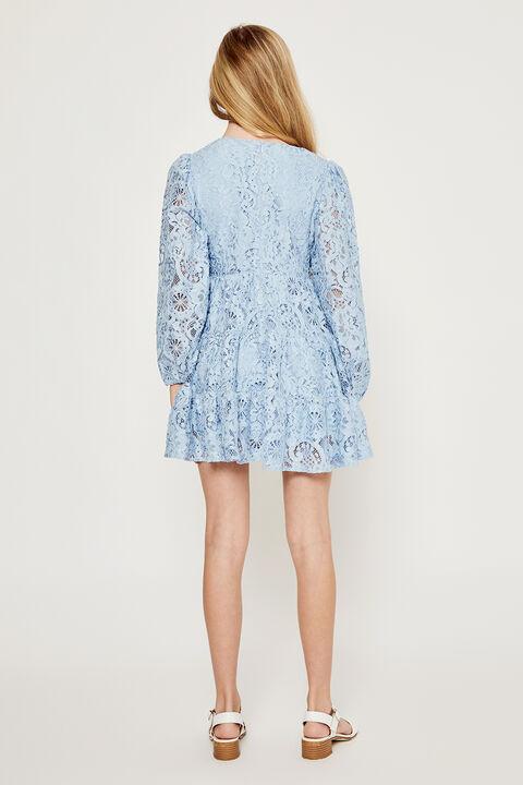 GIRLS ELLA LACE DRESS in colour DUSTY BLUE