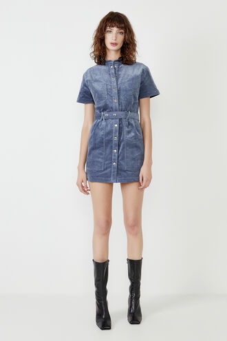 WOMENS STACEY CORD MINI DRESS in colour CERULEAN