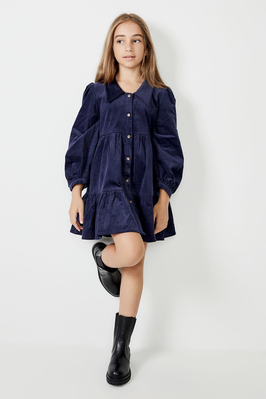 GIRLS LARISSA TIERED CORD DRESS in colour BLACK IRIS