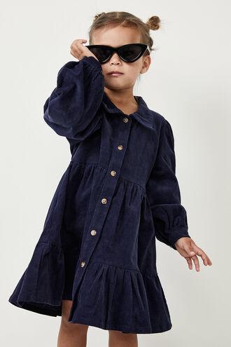 LARISSA TIERED CORD DRESS in colour BLACK IRIS