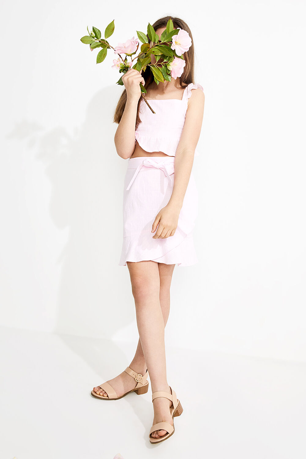 TWEEN GIRL FLUTTER MINI FRILL SKIRT in colour CLOUD PINK