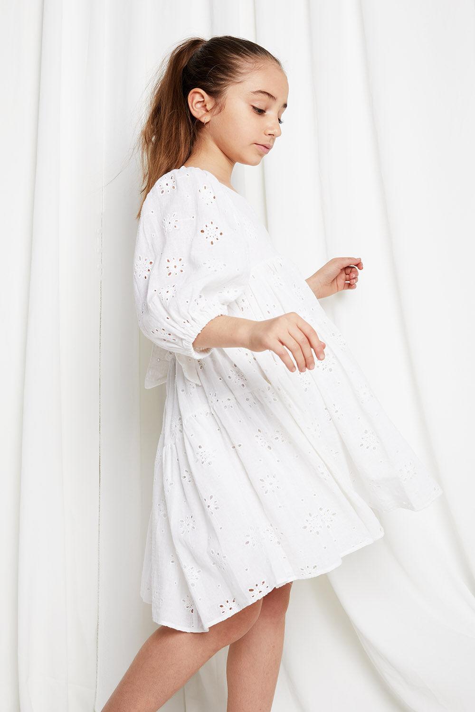 JUNIOR GIRL BRODERIE TIER DRESS in colour CLOUD DANCER