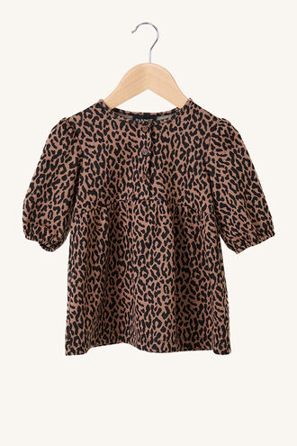 LEOPARD MINI DRESS in colour LATTE