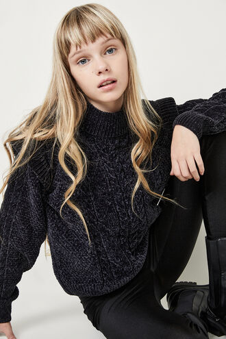 EMILIE CABLE KNIT SWEATER in colour BLACK IRIS