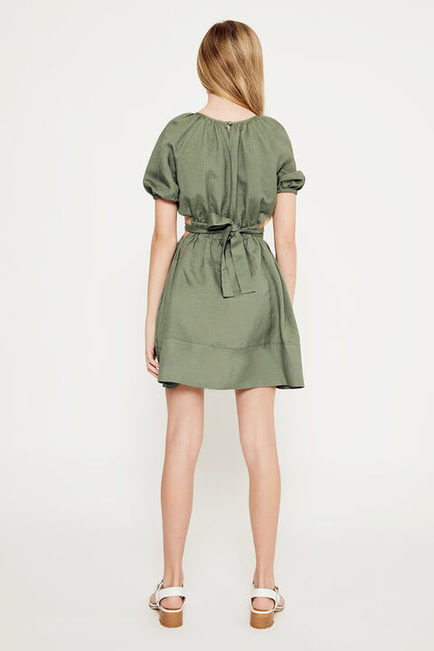 GIRLS LOLA TIE BACK DRESS in colour IVY GREEN