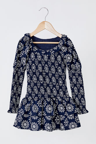 MATILDA MINI FLORAL DRESS in colour ESTATE BLUE