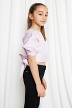 JUNIOR GIRL PUFF SLEEVE TOP in colour LILAC CHIFFON