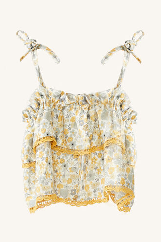 FLORAL RAH RAH TOP in colour PASTEL YELLOW