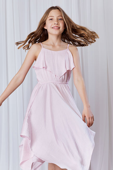 GIRLS ADDY HANKY DRESS in colour SOFT PINK