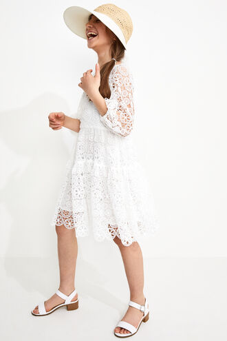 LACE TIERED DRESS in colour CLOUD DANCER