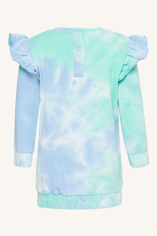 TIE DYE MINI SWEATER DRESS in colour AQUA GREEN