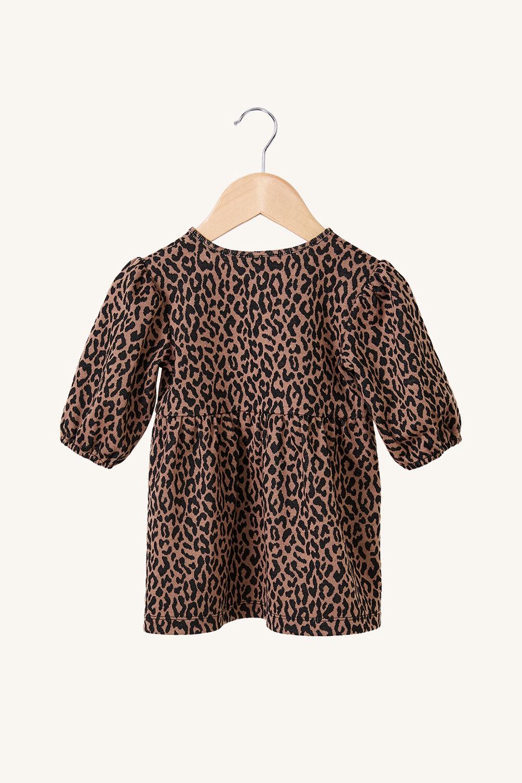 BABY LEOPARD MINI DRESS in colour LATTE