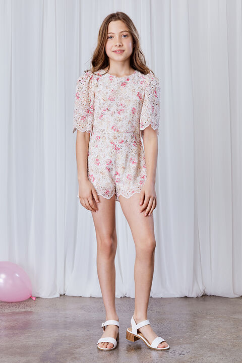 GIRLS AMELIA FLORAL PLAYSUIT in colour SACHET PINK
