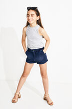 TWEEN GIRL FUNNEL NECK TANK in colour SMOKED PEARL