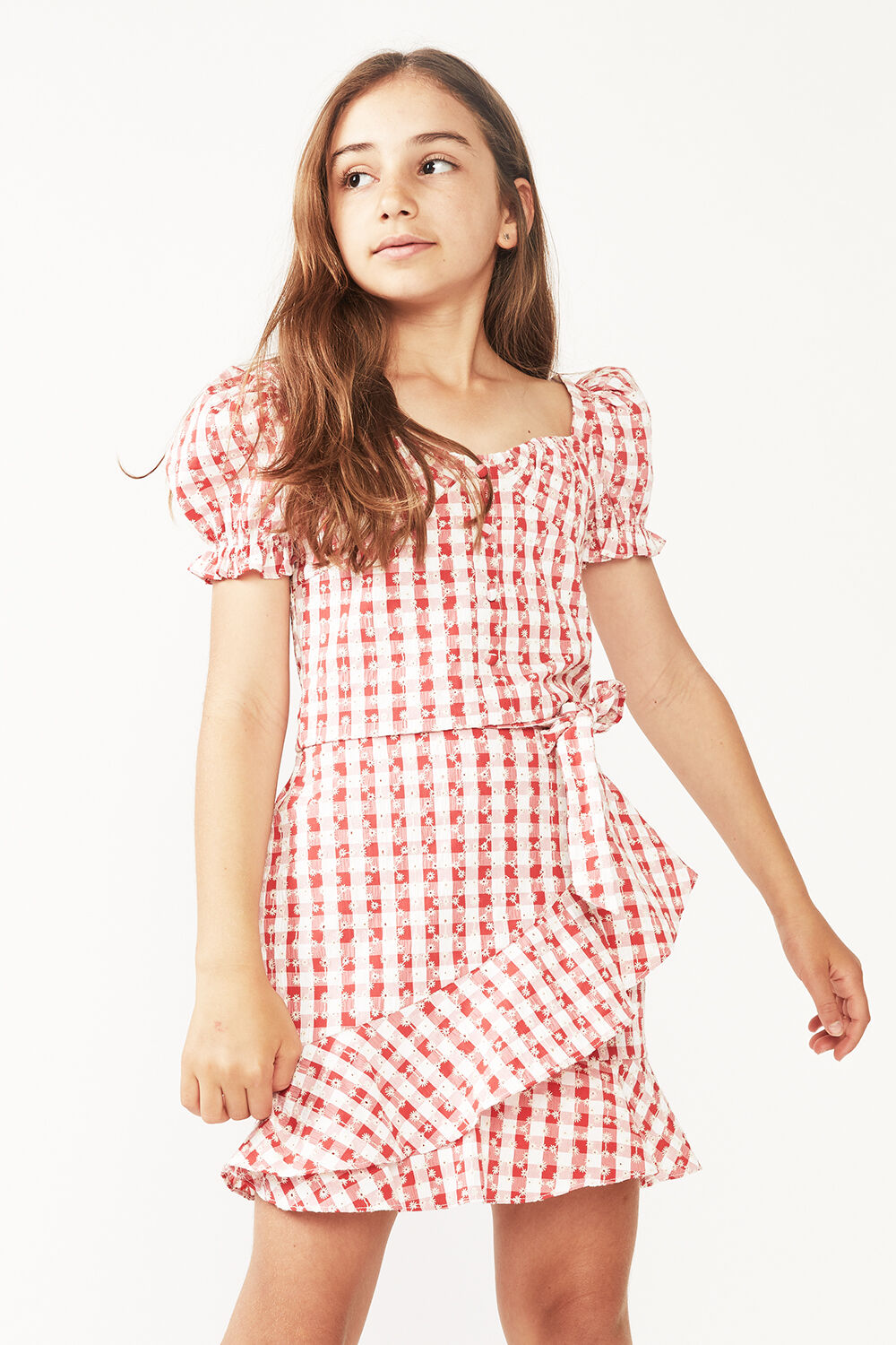 TWEEN GIRL GINGHAM WRAP SKIRT in colour TANGO RED