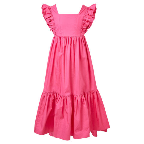 TWEEN GIRL TIERED MAXI FRILL DRESS in colour FUCHSIA PURPLE