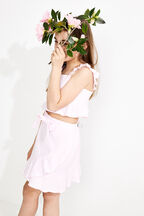 JUNIOR GIRL FLUTTER MINI FRILL SKIRT in colour CLOUD PINK