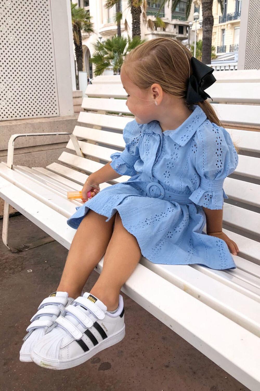 BABY GIRL MINI BRODERIE DRESS in colour MOONLIGHT BLUE