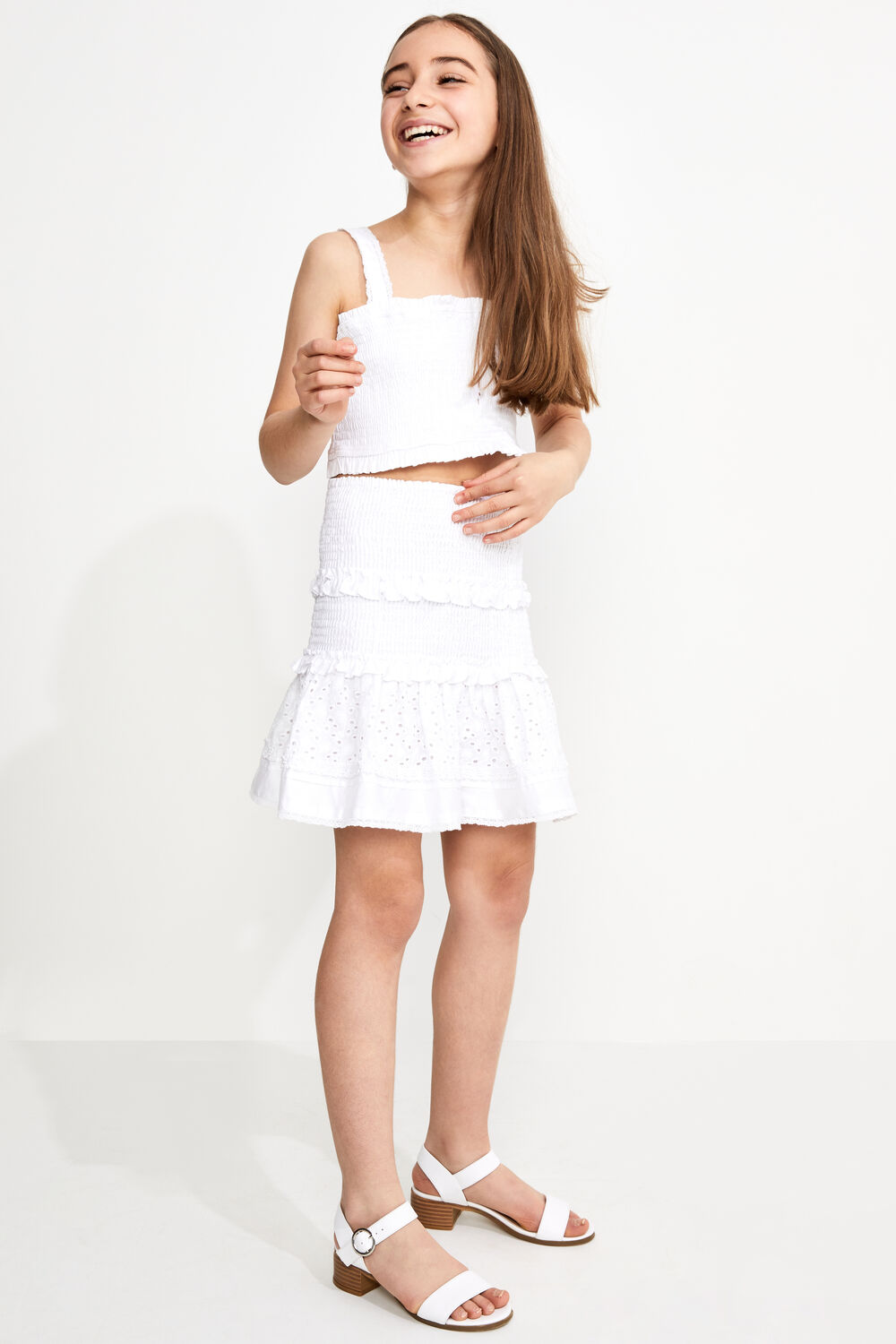 TWEEN GIRL LOLITA SHIRRED SKIRT in colour CLOUD DANCER