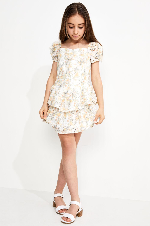 JUNIOR GIRL BRODERIE CORSET DRESS in colour VANILLA ICE