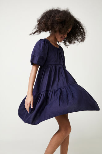 TESSA TIERED DRESS in colour MARITIME BLUE