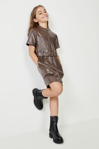 BELLE MINI DRESS in colour CHOCOLATE BROWN
