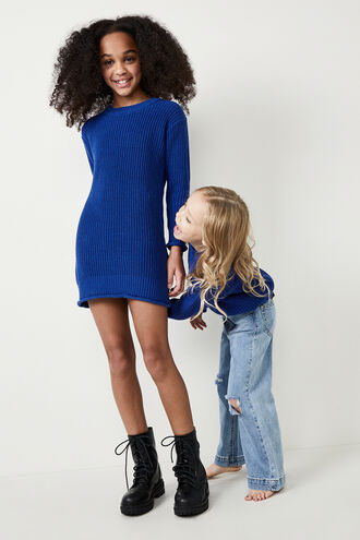 HOLLY KNIT SWEATER DRESS in colour BRIGHT COBALT