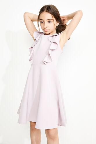 RILEY RUFFLE DRESS in colour GRAY LILAC