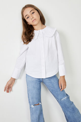 BIB COLLAR POPLIN SHIRT in colour BRIGHT WHITE