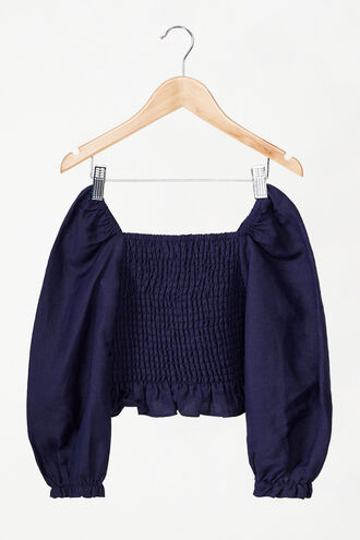 TESSA SHIRRED TOP in colour MARITIME BLUE