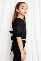 TWEEN GIRL PUFF SLEEVE TOP in colour CAVIAR