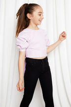 TWEEN GIRL PUFF SLEEVE TOP in colour LILAC CHIFFON