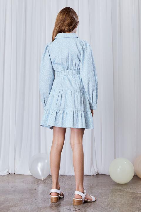 GIRLS DITSY MINI SHIRT DRESS in colour STAR WHITE