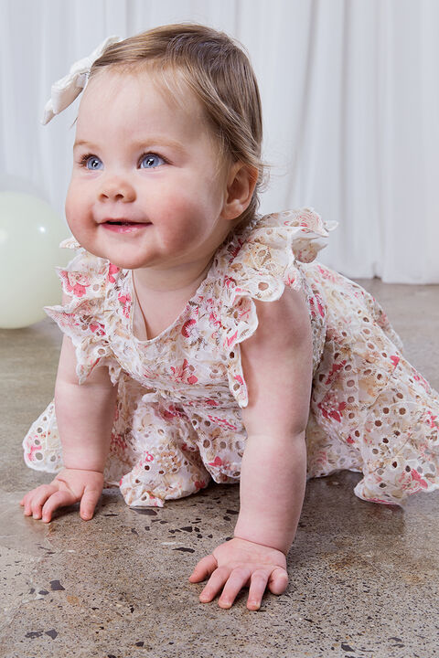 BABY GIRL AMELIA FLORAL DRESS in colour SACHET PINK