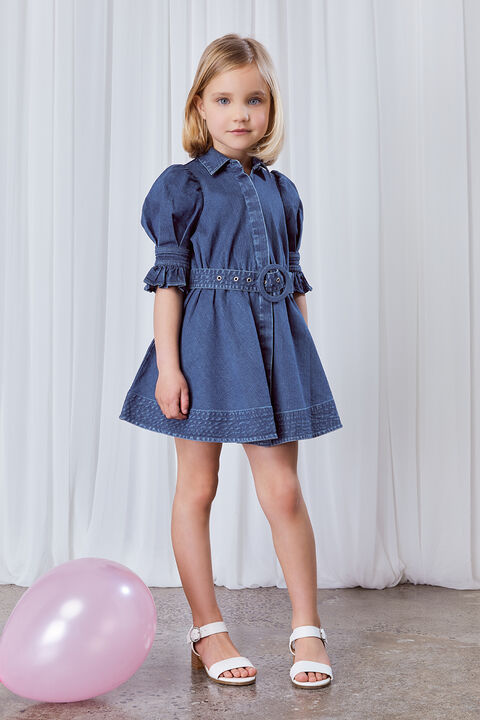 GIRLS STELLA DENIM DRESS in colour MIDNIGHT NAVY
