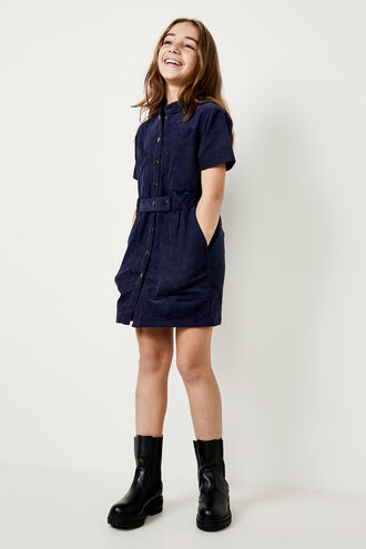 STACEY CORD DRESS in colour BLACK IRIS